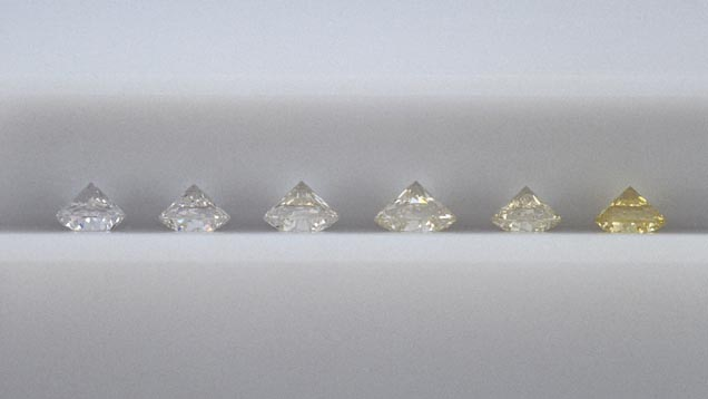 GIA Resident Masterstone Series 5A. Left to right: E, F, H-I, J-K, K-L, Z.